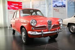 A superb Alfa Romeo Giulietta Sedan model on display at The Historical Museum Alfa Romeo stock photos