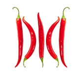 Superb beautiful red hot pepper. On a white background Royalty Free Stock Images