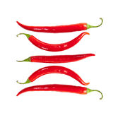 Superb beautiful red hot pepper. On a white background stock photos