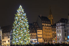 Superb Christmas tree in Strasbourg, France. Christmas tree erected on Place Kleber in Strasbourg (France, Alsace) - on a December night Stock Photos