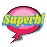 Superb comic word. Pop art retro vector illustration Stock Images