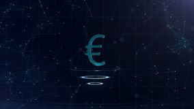 A superb 3d Euro sign. Space blue cyberspace backdrop with internet connections. Euro currency is on three virtual royalty free illustration