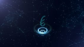A superb 3d Euro sign. Space blue cyberspace backdrop with internet connections. Euro currency is on three virtual stock illustration