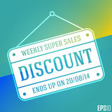 Business Discount Sales Banner. Vector Elements. Hanging Market Board Illustration. EPS10 Royalty Free Stock Photo