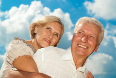 Superb elderly couple went for a walk Royalty Free Stock Image
