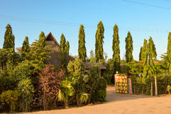 Superb garden of a hotel on the road  from Mombasa to Nairobi in Stock Photo