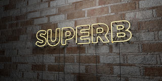 SUPERB - Glowing Neon Sign on stonework wall - 3D rendered royalty free stock illustration. Can be used for online banner ads and direct mailers Royalty Free Stock Image