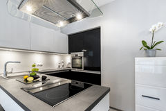 Superb luxury kitchen with granite worktop. In black and white style Royalty Free Stock Image