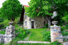 Superb Old House And Garden Royalty Free Stock Photos
