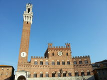 The superb Palazzo Comunale and Torre del Mangia in Siena Royalty Free Stock Image