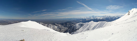 XXL alpine view in winter Royalty Free Stock Photo