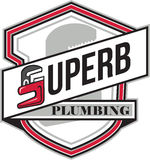 Superb Plumbing Shield Retro. Illustration showing a plumber monkey wrench shaped in the form of letter S with words Super Plumbing set inside crest shield done Royalty Free Stock Photography