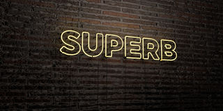 SUPERB -Realistic Neon Sign on Brick Wall background - 3D rendered royalty free stock image. Can be used for online banner ads and direct mailers Stock Images