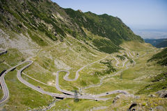 Superb Romanian Mountain Road. The best mountain road in the world as stated by a famous TV show. The Transfagarasan road is crossing the Carpathian mountains in stock images