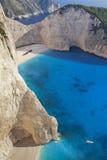 Superb strand Navagio i Zakynthos, Grekland Arkivfoton