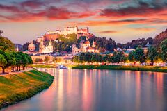 Free Superb Summer View Of Old Town Of Salzburg. Colorful Sunset Cityscape Of Salzburg With Hohensalzburg Castle On Background. Austria Royalty Free Stock Photo - 209612945