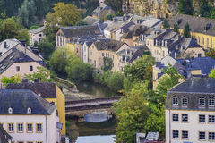 The superb view of the Grund, Luxembourg Stock Photo