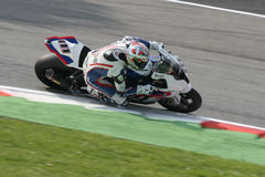 Superbike bmw. Ruben Xaus on his BMW at the practice session of the italian round in Monza of the world superbike championship 2009 stock image