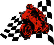 Superbike on finish flag. Motorbike with finish flag on background Stock Photos