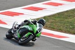 Superbike Kawasaki Team Pedercini Mark Aitchison Royaltyfria Bilder
