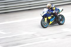 Superbike Race. Superbike racing participant in action royalty free stock image