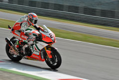 Superbike Team Aprilia Alitalia Racing Leon Camier Royalty-vrije Stock Fotografie