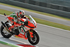 Superbike Team Aprilia Alitalia Racing Max Biaggi Arkivfoto