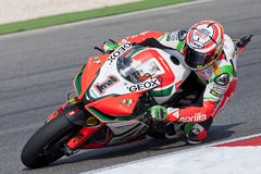 Superbikes 2011. PORTIMAO, Portugal - October 16: A closeup of Max Biaggi, the third place winner of world Superbikes Championship in Algarve, Portimao on Royalty Free Stock Image