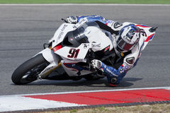 Superbikes 2011. PORTIMAO, Portugal - October 16: A closeup of  Leon Haslam, the fifth place winner of the Superbikes World Championship in Algarve, Portimao on Stock Photo