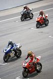 Superbikes on starting grid  Royalty Free Stock Photography