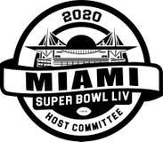 Superbowl利夫2020年迈阿密商标传染媒介 库存例证