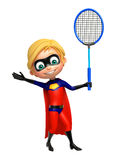 Superboy with  Badminton. 3d rendered illustration of Superboy with Badminton Stock Image