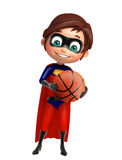 Superboy with Basket ball. 3d rendered illustration of Superboy with Basket ball Stock Images