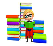 Superboy with Book stack. 3d rendered illustration of Superboy with Book stack Royalty Free Stock Photo