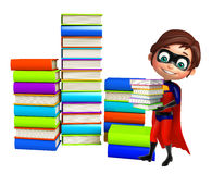 Superboy with Book stack. 3d rendered illustration of Superboy with Book stack Stock Image
