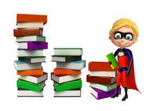 Superboy with Book stack. 3d rendered illustration of Superboy with Book stack Royalty Free Stock Image