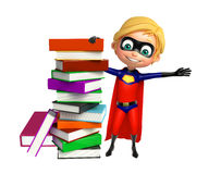 Superboy with Book stack. 3d rendered illustration of Superboy with Book stack Royalty Free Stock Photos