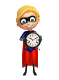 Superboy with Clock Royalty Free Stock Images