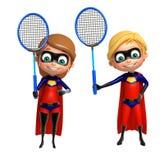 Superboy en Supergirl met Badminton royalty-vrije illustratie