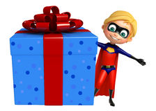 Superboy with Giftbox. 3d rendered illustration of Superboy with Giftbox Royalty Free Stock Photos