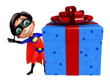 Superboy with Giftbox. 3d rendered illustration of Superboy with Giftbox Stock Images
