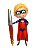 Superboy with Pen Royalty Free Stock Photos