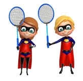 Superboy and Supergirl with Badminton. 3d rendered illustration of Superboy and Supergirl with Badminton Royalty Free Stock Photography