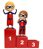 Superboy and Supergirl with 123 level. 3d rendered illustration of Superboy and Supergirl with 123 level Stock Photos