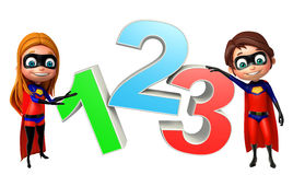 Superboy and supergirl with 123 sign. 3d rendered illustration of superboy and supergirl with 123 sign Royalty Free Stock Photography