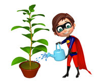 Superboy with Watering can and plant Royalty Free Stock Photography
