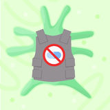 Superbug antibiotics resistance bacteria. Antibiotics resistance concept with superbug creature wearing bulletproof vest against pills. Stock vector illustration Stock Images