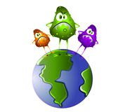 Superbug Germs on The World. A clip art illustration of a group of nasty looking germs standing on the planet earth to represent those 'superbug' viruses that Stock Photography