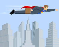 Superbusinessman above the city Stock Image