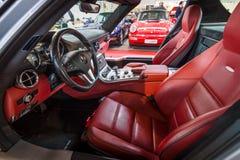 supercar奔驰车SLS AMG 6,3小轿车客舱, 2010年 免版税库存图片